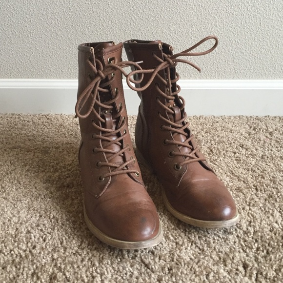Forever 21 - F21 brown slim combat boots with studs from ...