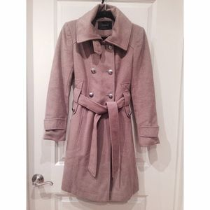 Tahari Taupe Wool Coat with Removable Faux Fur