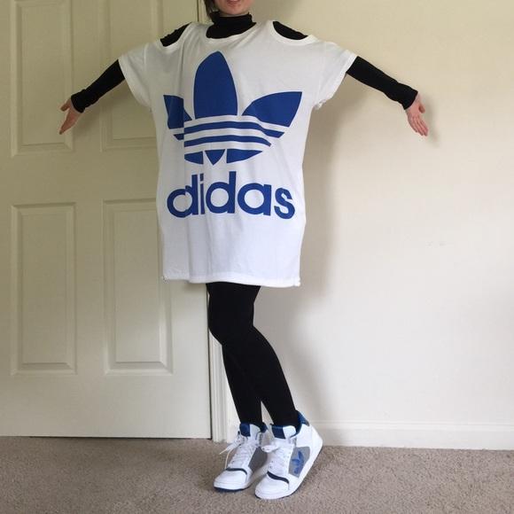 adidas t shirt dress white