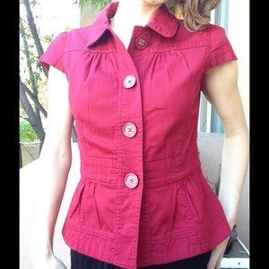 Ann Taylor Loft Short Sleeve Blazer Buttons Red