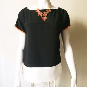 Zara Shoulder Zipper Detail Black and White Top