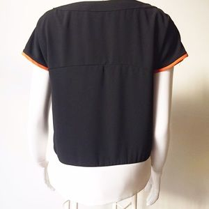 Zara Tops - Zara Shoulder Zipper Detail Black and White Top
