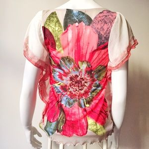Tops - Flower Print Top with Draped Ruffle Sleeves