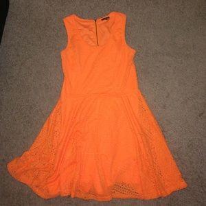 Express Dresses & Skirts - Express Neon orange skater dress | Size: L