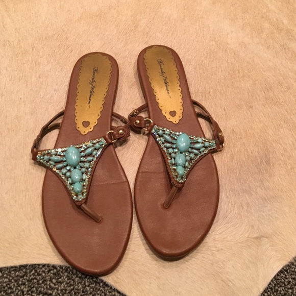03ae6ee29 Beverly Feldman Shoes - Beverly Feldman Turquoise Jeweled Sandals