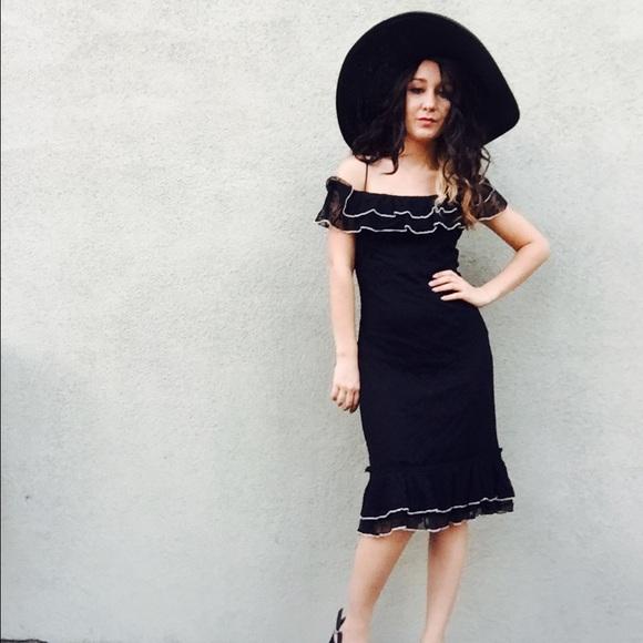 61a6f0df99 Kookai Dresses   Skirts - HP🎉 Vintage Off Shoulder Dress Fishtail Midi Xs