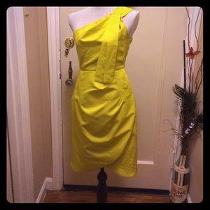 Dresses & Skirts - Chartreuse one shoulder  dress size 4