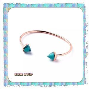 NEW Boho Rose Gold & Turquoise Open Cuff Bracelet