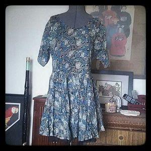 Classic Dresses & Skirts - Cotton Boho floral dress M blue w/underskirt