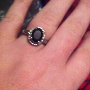Black sapphire and cz ring for sale