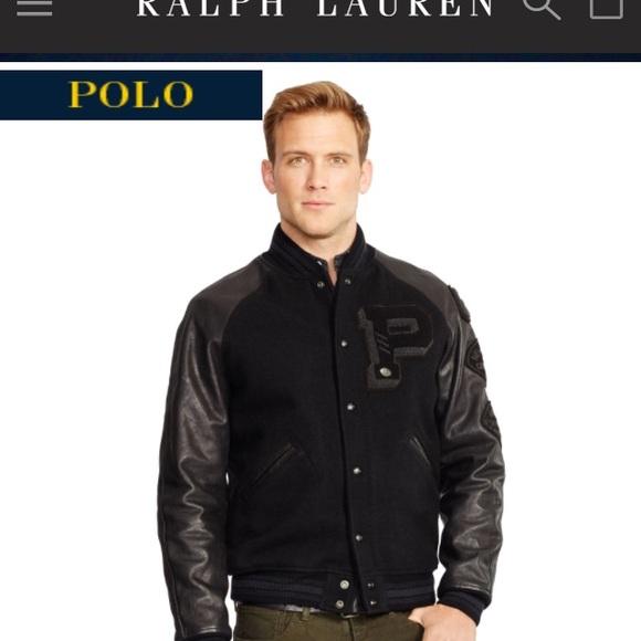 Ralph Boutique Lauren Leather Negotiable Varsity Jacket MVpSUz