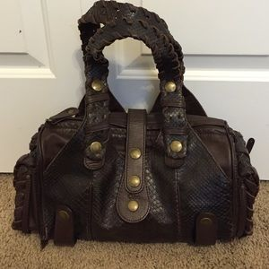 Chloe Dark Brown Python Medium Silverado Bag