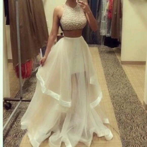 52% off Dresses & Skirts - Cream/nude, 2 piece prom dress, evening ...