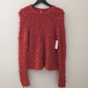 Free People orange knit sweater