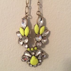 J.crew necklace with neon yellow and brass details