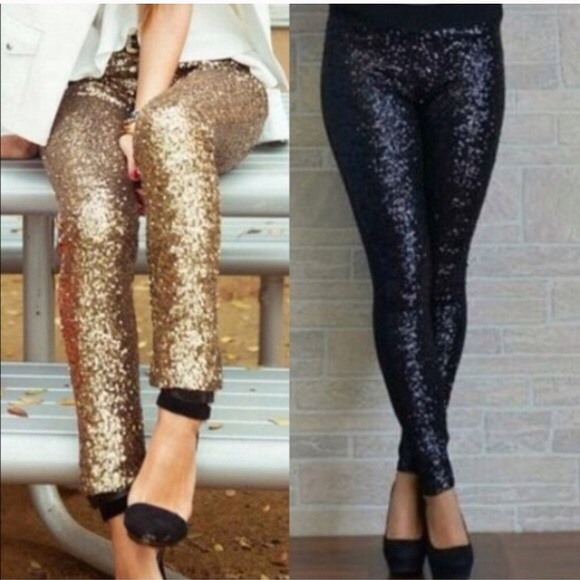 PLUS SIZE BLACK❗️SEQUIN LEGGINGS 1X, 2X,3X from Elaine's fashion ...