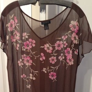 THE LIMITED Silk Brown Floral Sheer Top