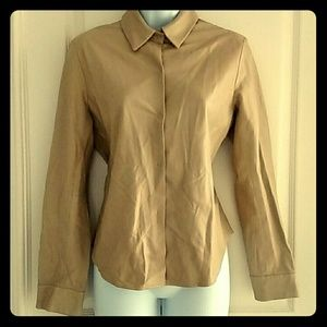 100% GENUINE LEATHER BANANA REPUBLIC SNAP-UP TOP
