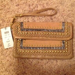 SOLD! Cache Tan/Brown Studded Clutch Wristlet