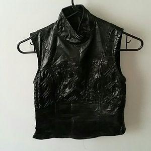 Alien texture pvc sleeveless mockneck goth fetish