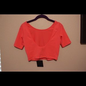 Coral asos crop top