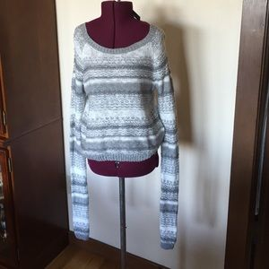 Abercrimbie Gray Silver White Striped Sweater NWT