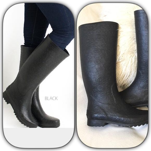black ugg rain boots