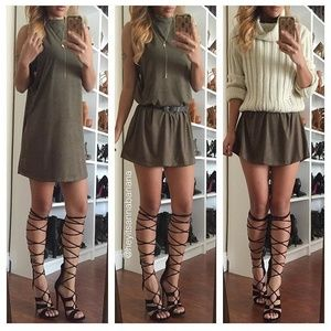 Dresses & Skirts - Olive suede dress