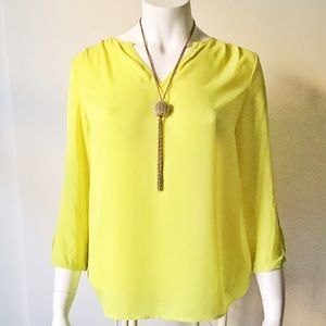Tops - Neon Yellow Long Sleeve Top with Exposed Arms