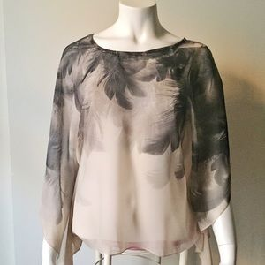 Tops - Sheer Grey Feathers Tan Top with Draped Sleeves