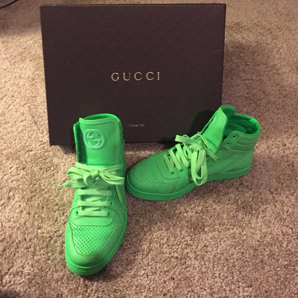 33b65d6e2 Gucci Shoes | Coda Neon Leather High Top Leather Sneakergreen | Poshmark