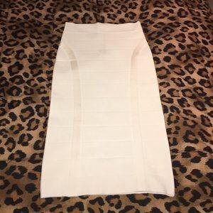 NWT bebe White Midi Bandage Skirt