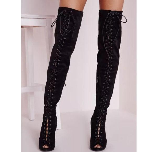 Knee Lace Up Front Boots
