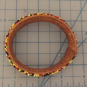 Jewelry - African Bracelet Seed Beads on Leather