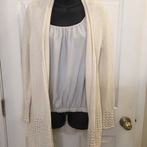 Chico's sweater cardigan beige with lace back.