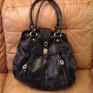 Hype black leather satchel bag