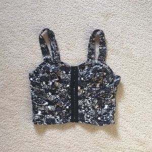 Black and white print soft corset top