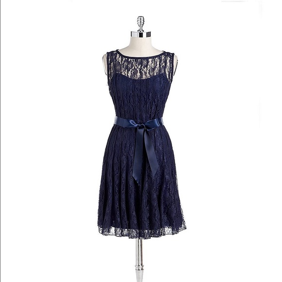 Xscape Navy Lace Dress