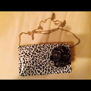 Handbags - Small animal print bag with black flower