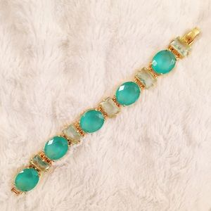 Green & Gold Gem Link Bracelet