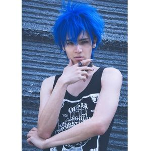 Blue Fluffy Unisex Style Rocker Custom Wig Anime