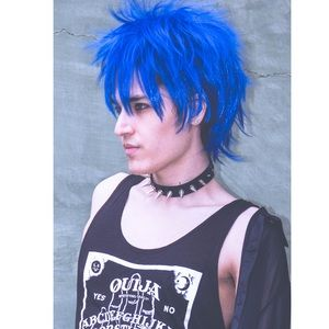 Hot Topic Accessories - 💙Blue Fluffy Unisex Style Rocker Custom Wig Anime