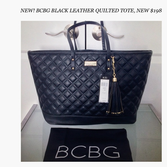 39% off BCBG Handbags - NEW! BCBG BLACK LEATHER QUILTED NEVERFULL ...
