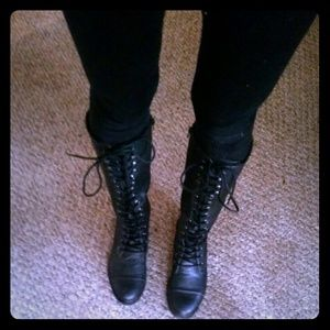 Black forever 21 tall lace up combat /riding boots