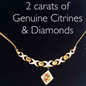 Jewelry - MAKE OFFER❗️Gold Citrine Diamond necklace