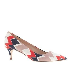 J. Crew Shoes - J.Crew Retro Dulci Chevron Printed Kitten Heel 7.5