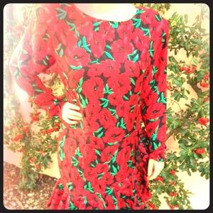 VINTAGE black and red floral ruffled 1980s dress