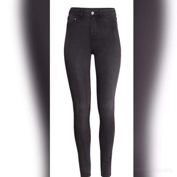 35% off H&M Denim - H&M super skinny high waisted faded black ...