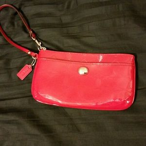 Large Red Coach wristlet Wallet