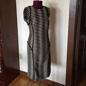 Beige by eci Black Striped Curve Hugging Dress 10